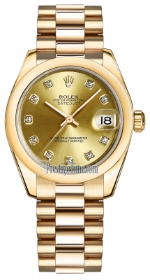 Rolex Datejust 31mm Yellow Gold 178248 Champagne Diamond President