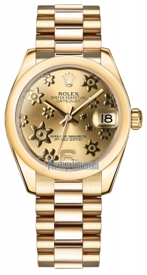 Rolex Datejust 31mm Yellow Gold 178248 Champagne Floral President