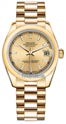 Rolex Datejust 31mm Yellow Gold 178248 Champagne Index President