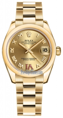 Rolex Datejust 31mm Yellow Gold 178248 Champagne Roman VI Rubies Oyster