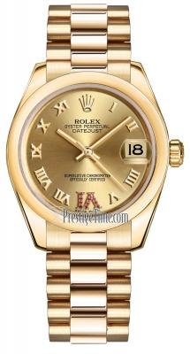 Rolex Datejust 31mm Yellow Gold 178248 Champagne Roman VI Rubies President