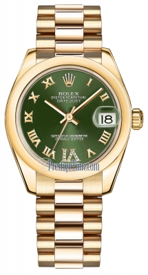 Rolex Datejust 31mm Yellow Gold 178248 Olive Green VI Roman President