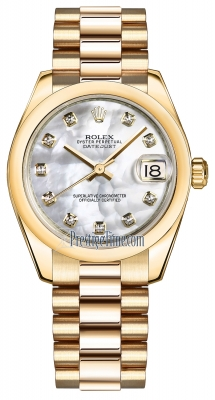 Rolex Datejust 31mm Yellow Gold 178248 MOP Diamond President