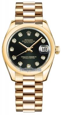 Rolex Datejust 31mm Yellow Gold 178248 Black Diamond President