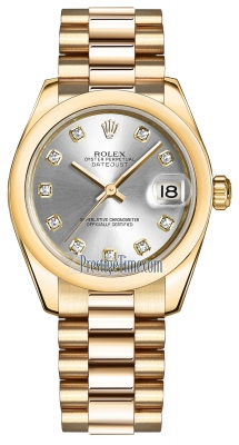 Rolex Datejust 31mm Yellow Gold 178248 Silver Diamond President