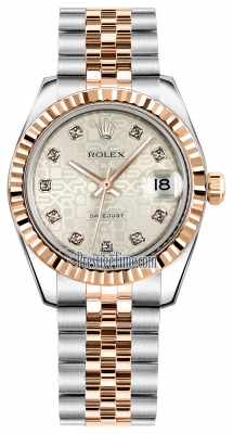 Rolex Datejust 31mm Stainless Steel and Rose Gold 178271 Jubilee Silver Diamond Jubilee