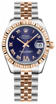 Rolex Datejust 31mm Stainless Steel and Rose Gold 178271 Purple VI Roman Jubilee