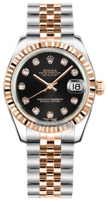 Rolex Datejust 31mm Stainless Steel and Rose Gold 178271 Black Diamond Jubilee