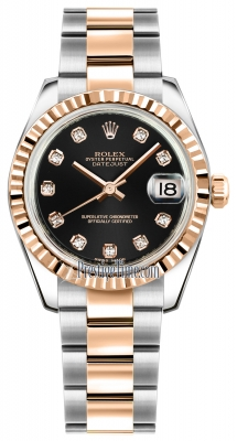 Rolex Datejust 31mm Stainless Steel and Rose Gold 178271 Black Diamond Oyster
