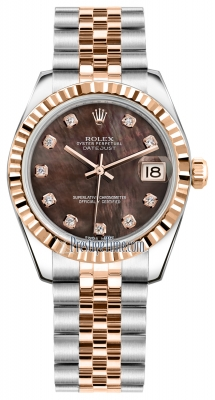 Rolex Datejust 31mm Stainless Steel and Rose Gold 178271 Black MOP Diamond Jubilee