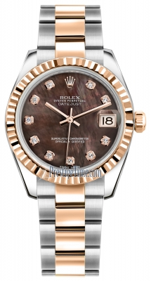 Rolex Datejust 31mm Stainless Steel and Rose Gold 178271 Black MOP Diamond Oyster