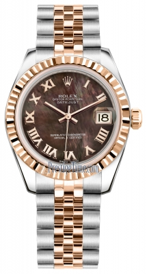 Rolex Datejust 31mm Stainless Steel and Rose Gold 178271 Black MOP Roman Jubilee