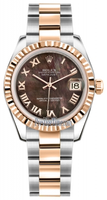 Rolex Datejust 31mm Stainless Steel and Rose Gold 178271 Black MOP Roman Oyster