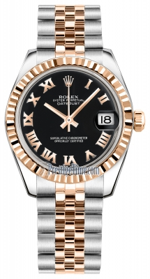 Rolex Datejust 31mm Stainless Steel and Rose Gold 178271 Black Roman Jubilee