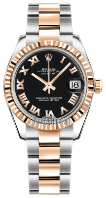 Rolex Datejust 31mm Stainless Steel and Rose Gold 178271 Black Roman Oyster