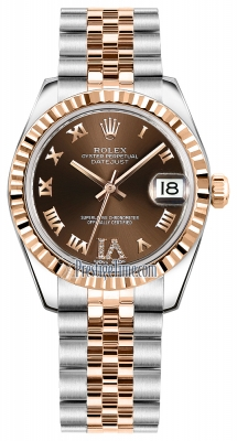 Rolex Datejust 31mm Stainless Steel and Rose Gold 178271 Chocolate VI Roman Jubilee