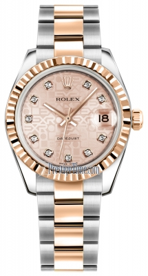 Rolex Datejust 31mm Stainless Steel and Rose Gold 178271 Jubilee Pink Diamond Oyster