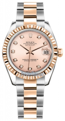 Rolex Datejust 31mm Stainless Steel and Rose Gold 178271 Pink Diamond Oyster