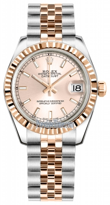 Rolex Datejust 31mm Stainless Steel and Rose Gold 178271 Pink Index Jubilee