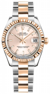 Rolex Datejust 31mm Stainless Steel and Rose Gold 178271 Pink Index Oyster