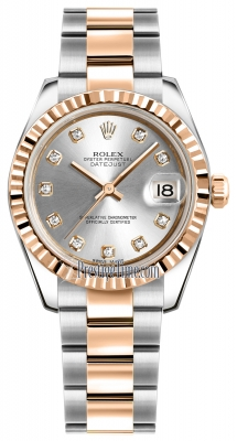 Rolex Datejust 31mm Stainless Steel and Rose Gold 178271 Silver Diamond Oyster