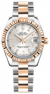Rolex Datejust 31mm Stainless Steel and Rose Gold 178271 Silver Index Oyster