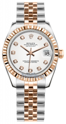 Rolex Datejust 31mm Stainless Steel and Rose Gold 178271 White Diamond Jubilee