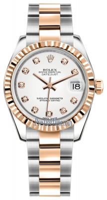 Rolex Datejust 31mm Stainless Steel and Rose Gold 178271 White Diamond Oyster