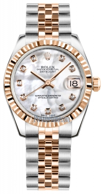Rolex Datejust 31mm Stainless Steel and Rose Gold 178241 White MOP Diamond Jubilee
