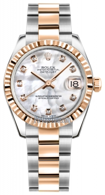 Rolex Datejust 31mm Stainless Steel and Rose Gold 178271 White MOP Diamond Oyster