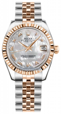 Rolex Datejust 31mm Stainless Steel and Rose Gold 178271 White MOP Roman Jubilee