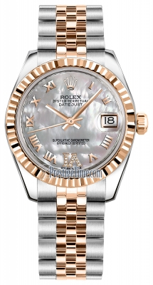 Rolex Datejust 31mm Stainless Steel and Rose Gold 178271 White MOP VI Roman Jubilee