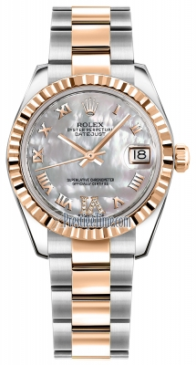 Rolex Datejust 31mm Stainless Steel and Rose Gold 178271 White MOP VI Roman Oyster