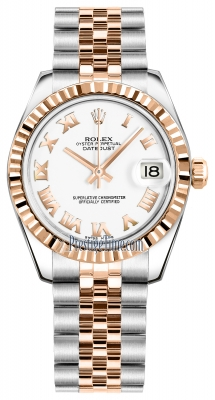 Rolex Datejust 31mm Stainless Steel and Rose Gold 178271 White Roman Jubilee