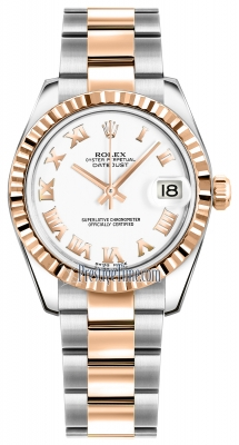 Rolex Datejust 31mm Stainless Steel and Rose Gold 178271 White Roman Oyster