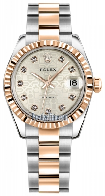 Rolex Datejust 31mm Stainless Steel and Rose Gold 178271 Jubilee Silver Diamond Oyster