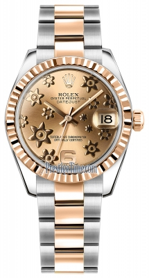 Rolex Datejust 31mm Stainless Steel and Rose Gold 178271 Pink Floral Oyster