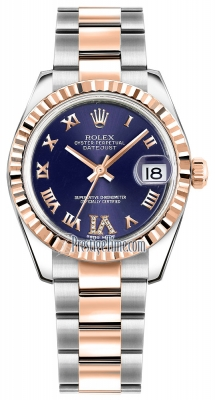 Rolex Datejust 31mm Stainless Steel and Rose Gold 178271 Purple VI Roman Oyster