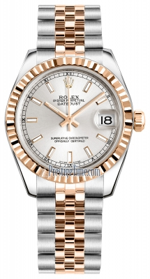 Rolex Datejust 31mm Stainless Steel and Rose Gold 178271 Silver Index Jubilee