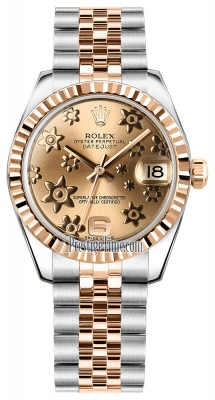 Rolex Datejust 31mm Stainless Steel and Rose Gold 178271 Pink Floral Jubilee
