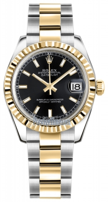 Rolex Datejust 31mm Stainless Steel and Yellow Gold 178273 Black Index Oyster