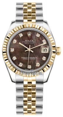 Rolex Datejust 31mm Stainless Steel and Yellow Gold 178273 Black MOP Diamond Jubilee