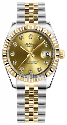 Rolex Datejust 31mm Stainless Steel and Yellow Gold 178273 Champagne Diamond Jubilee