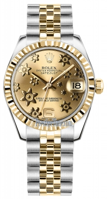 Rolex Datejust 31mm Stainless Steel and Yellow Gold 178273 Champagne Floral Jubilee