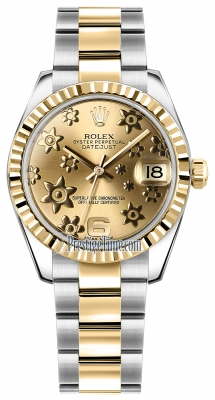 Rolex Datejust 31mm Stainless Steel and Yellow Gold 178273 Champagne Floral Oyster