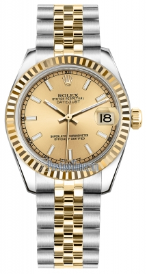 Rolex Datejust 31mm Stainless Steel and Yellow Gold 178273 Champagne Index Jubilee