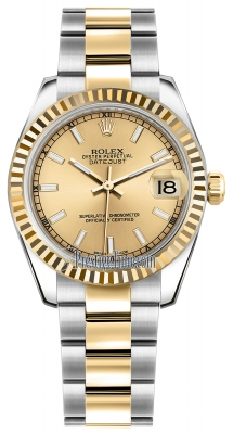 Rolex Datejust 31mm Stainless Steel and Yellow Gold 178273 Champagne Index Oyster