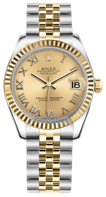 Rolex Datejust 31mm Stainless Steel and Yellow Gold 178273 Champagne Roman Jubilee