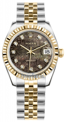 Rolex Datejust 31mm Stainless Steel and Yellow Gold 178273 Jubilee Black MOP Diamond Jubilee