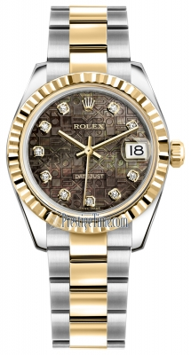 Rolex Datejust 31mm Stainless Steel and Yellow Gold 178273 Jubilee Black MOP Diamond Oyster